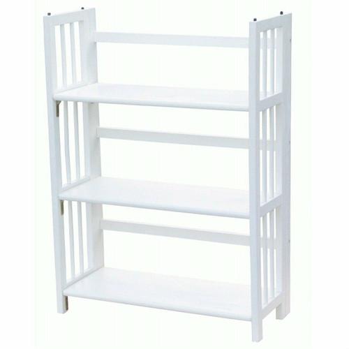 FastFurnishings White Wood Folding Bookcase Storage Unit Shelving with 3 Shelves
