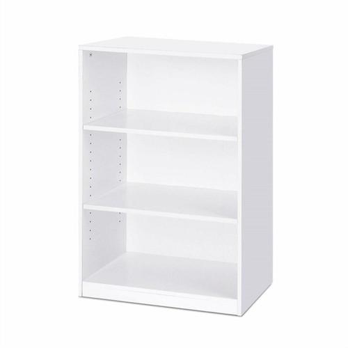 FastFurnishings Modern 3-Shelf Bookcase in White Wood Finish