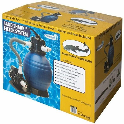 Blue Torrent Sand Shark Aboveground Sand Filter System 12 Filter with 1/2HP Pump
