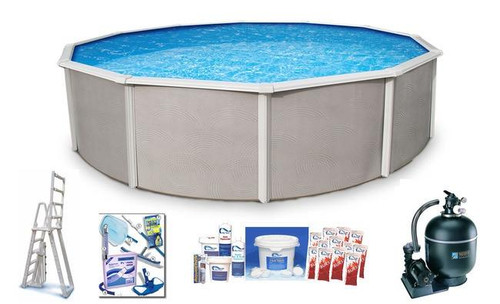 Asahi Pools Belize Round 48 Deep Above Ground Swimming Pool Package with 6 Top Rail