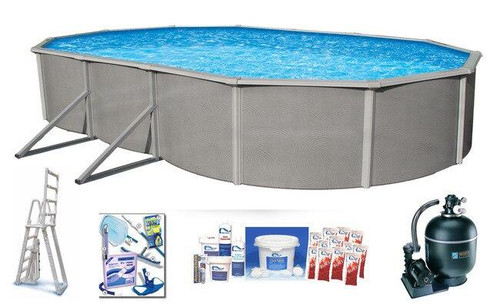 Asahi Pools Belize Oval 48 Deep Above Ground Swimming Pool Package with 6 Top Rail