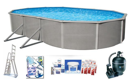 Asahi Pools Belize Oval 52 Deep Above Ground Swimming Pool Package with 6 Top Rail
