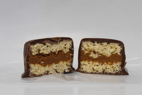 Two Homemade Rice Krispy's Sandwiching our Homemade PeanutButter and then fully dunked in Chocolate!