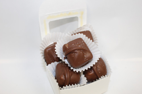 Creamy Caramels Dipped in either Milk or Dark Chocolate and sprinkled with Sea Salt!