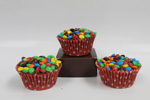 Our Handmade Just Chocolate Fudge the size of a cupcake topped with M&M's!