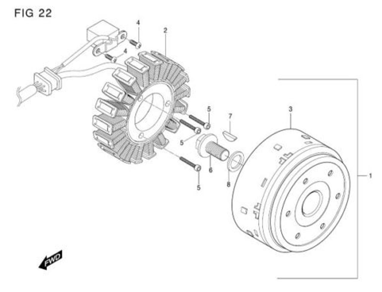 Magneto Flywheel Stator GV650 GT650 GT650R GT650S Assembly