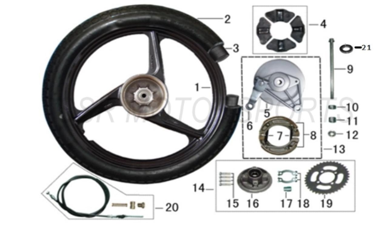 Lazer 5 Rear Brake Drum Plate Hub Cover