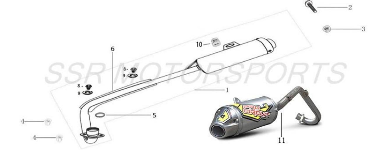 SSR Muffler Exhaust SR70 SR70Auto SR70C SR110 SR110 SEMI