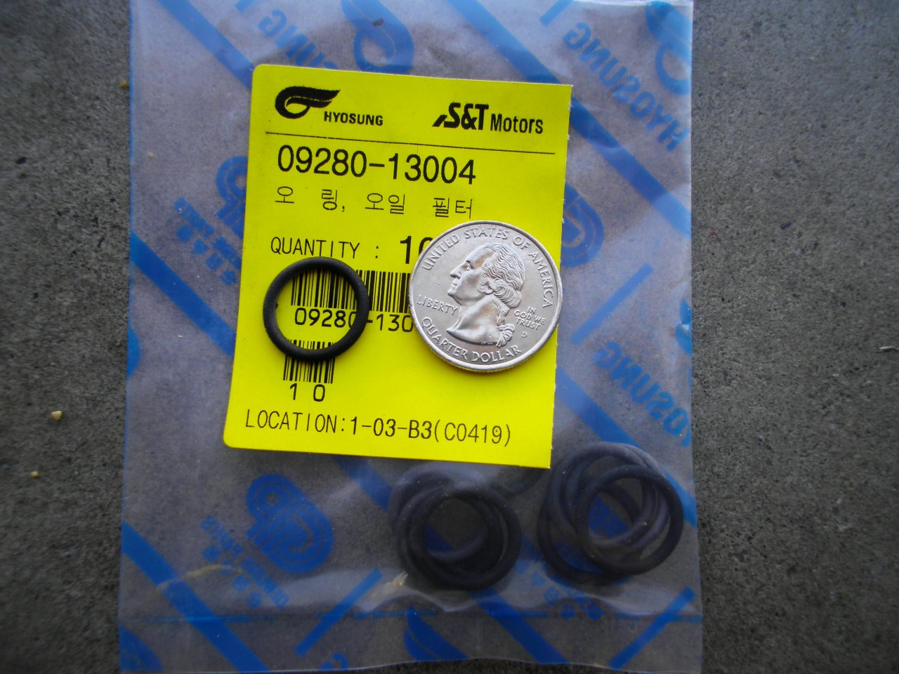 Hyosung Internal O-RIng for Oil FIlter on GT250R, GT250, GV250 and RX125 O Ring, Oring