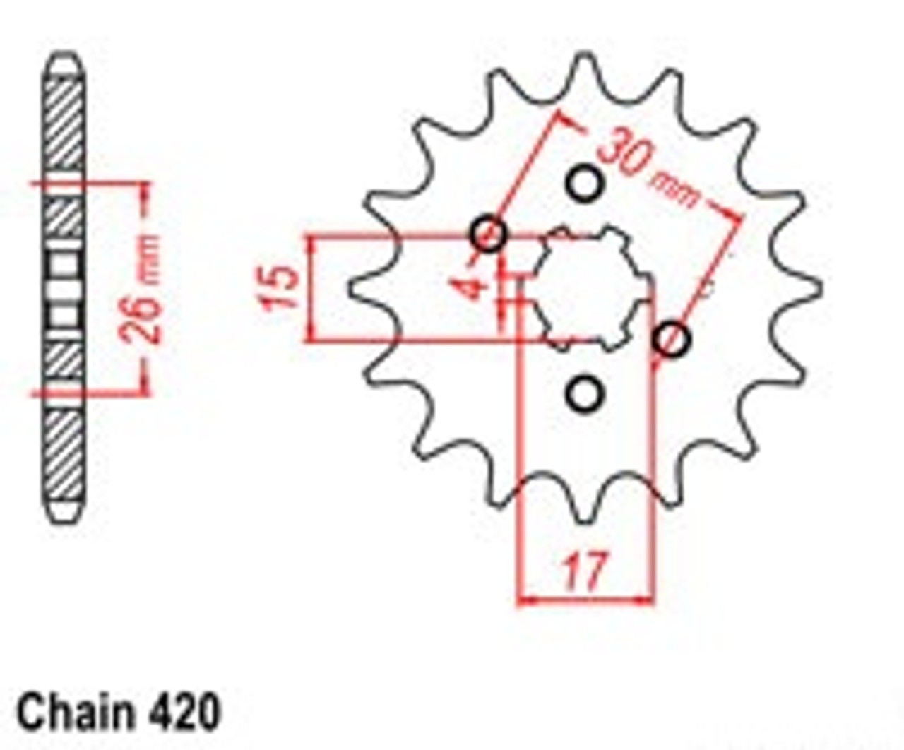 420 Taotao or SSR Chinese Front Counter Sprocket (Upgrade)