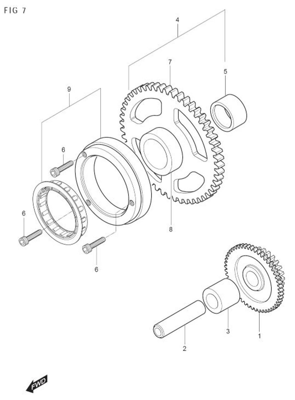 Starter Clutch Gear and Bushing GT250 GT250R GV250