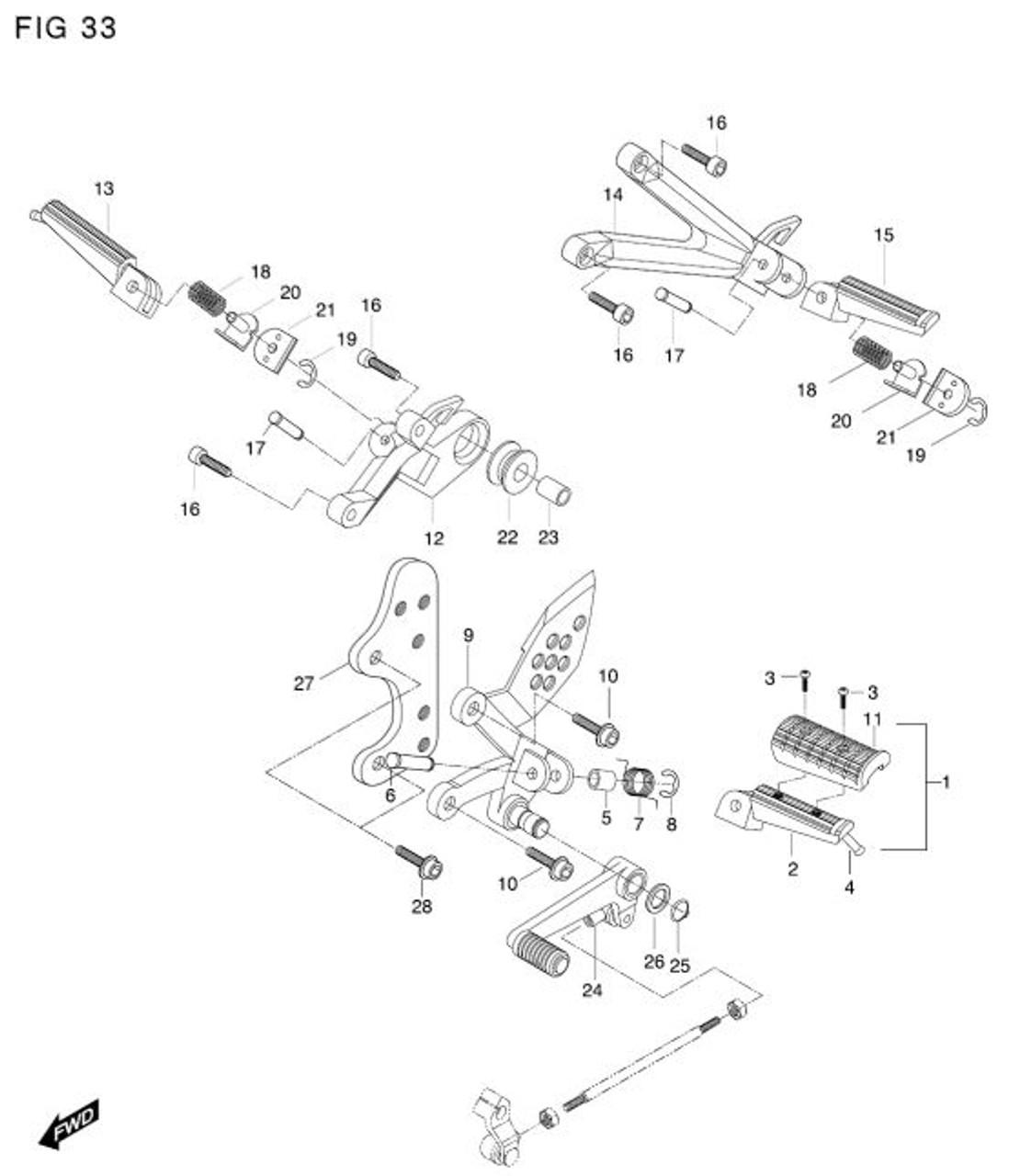 Right Passenger Footrest Bracket Exhaust Hanger