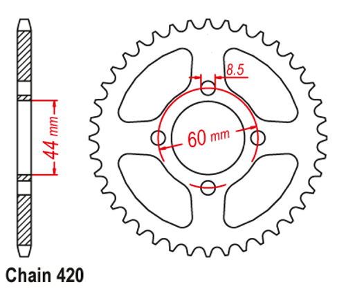 420 Coolster Rear Sprocket - 60mm mounting diameter