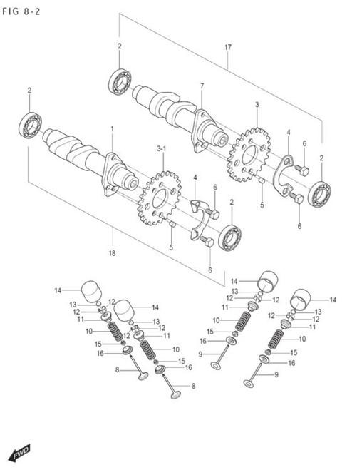 Intake Valve - Front or Rear Cylinder - GT250 GT250R GV250