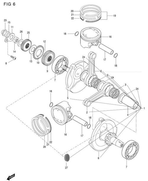 Crank Pin Bearing Gt250 Gt250r Gv250