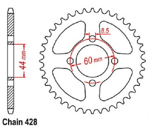Coolster 428 rear sprocket for 110cc and 125cc ATV - 60mm mounting diameter