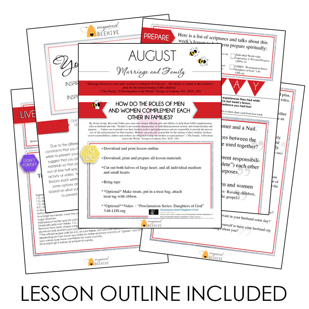 How Do The Roles Of Men And Women Compliment Each Other In Families? -  August Young Women Lesson Plan Helps