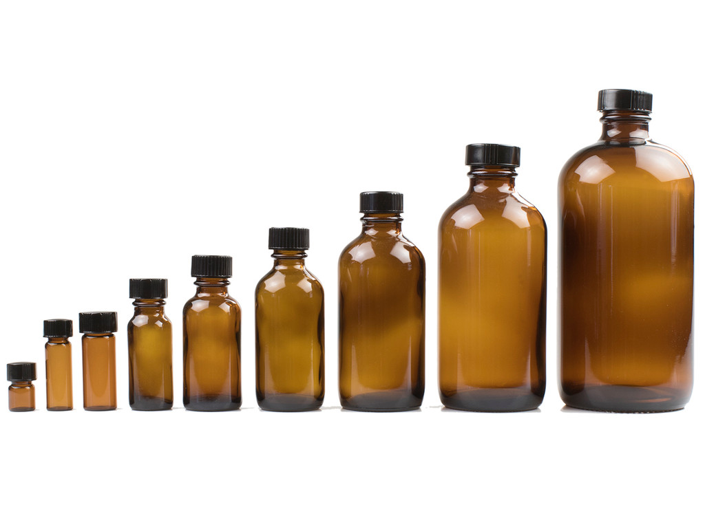 Amber Glass Bottles with Screw Cap