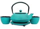 Turquoise Rings Cast Iron Teapot Set