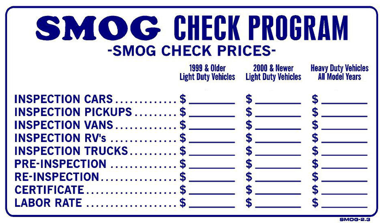 Smog Check Prices Near Me >> Sign Smog Check Prices 13in X 24in Emissions Depot