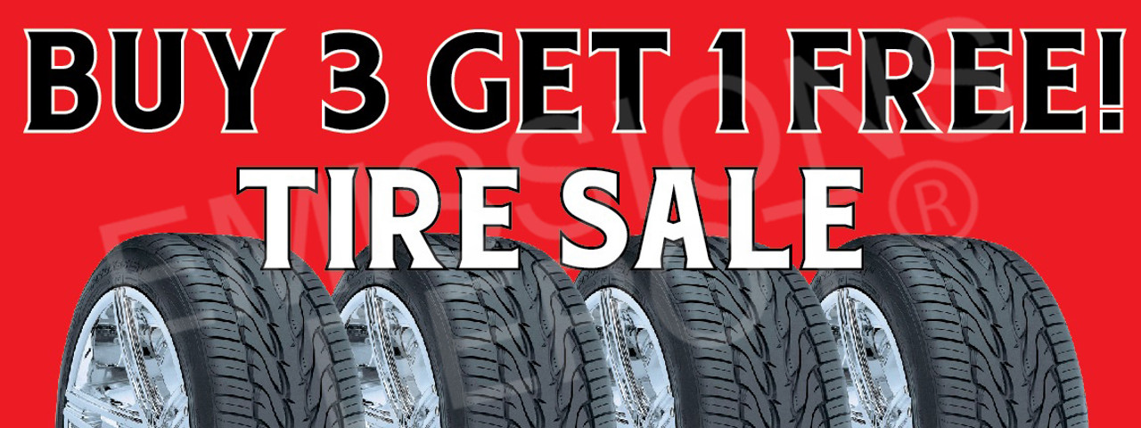 Buy 3 Get 1 Free Tire Sale Vinyl Banner