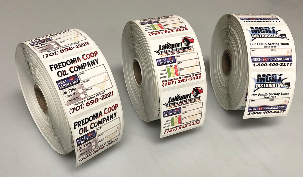 Custom designed oil changes stickers half the price of our nearest competitor