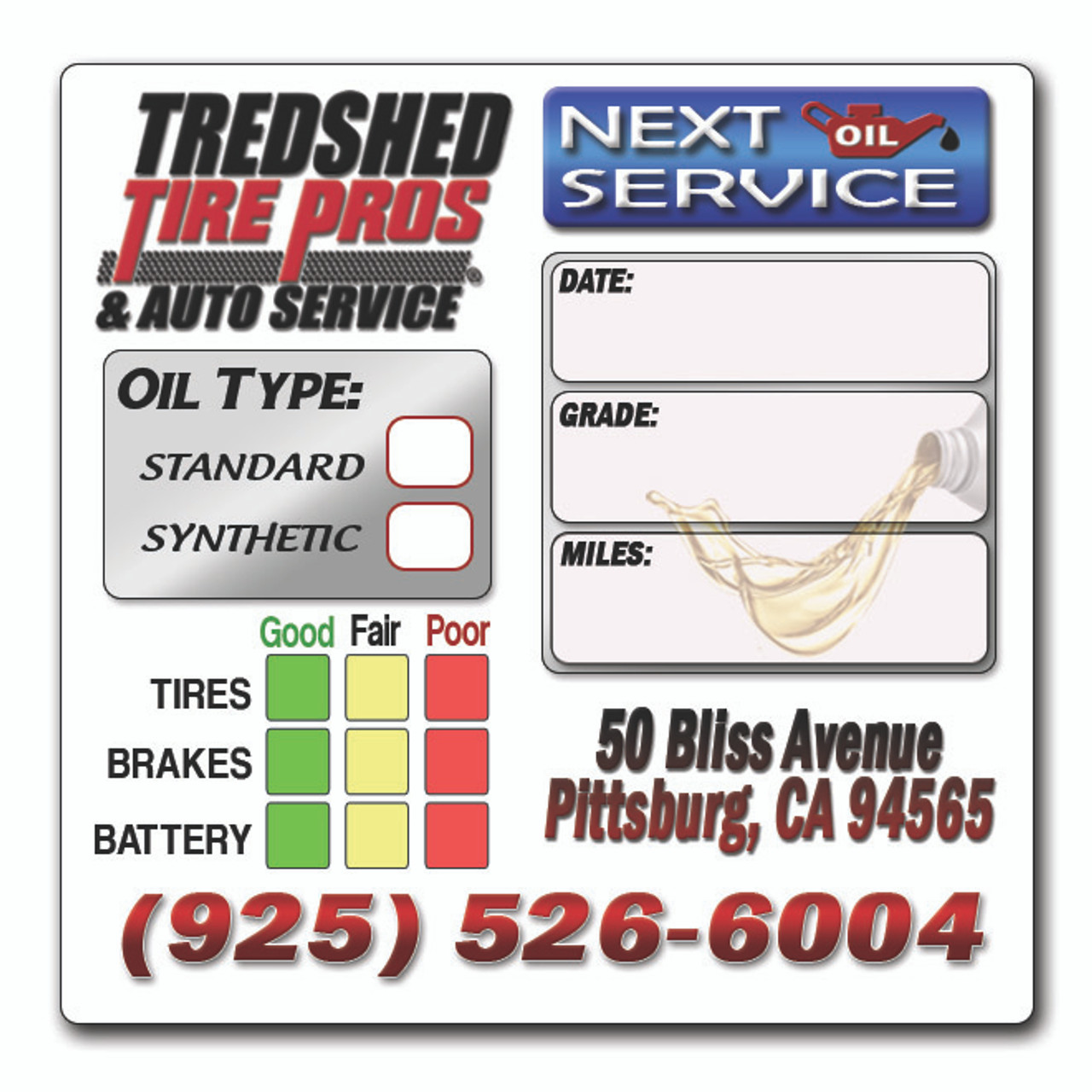 Custom Oil Change Reminder Stickers 2 X 2 Full Color Re Orders Ship Within 24 Hours
