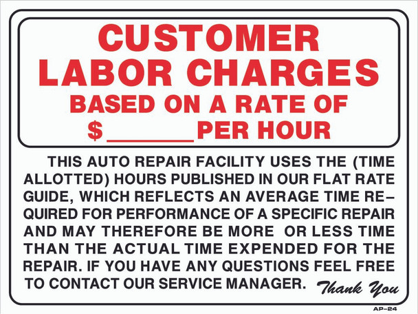 18x24 Sign Customer Labor Charge Per Hour 18in X 24in