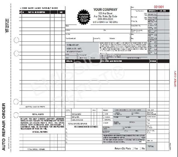 ARO-372-4 | Auto Repair Work Order Invoice | 4 Part Carbon | CA Version (11'' x 8.5'')