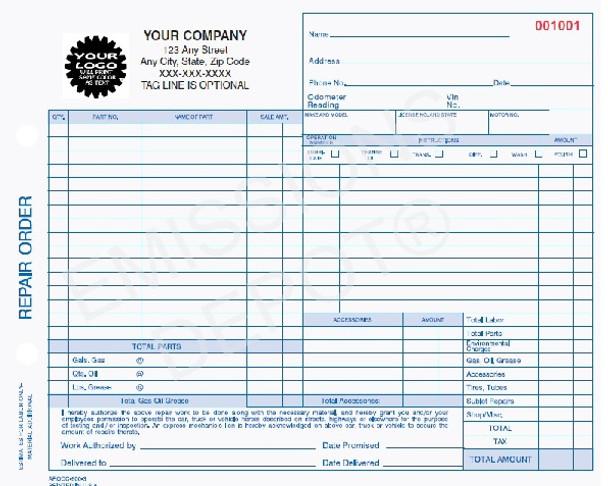 ARO-666-3 | Automotive Repair Work Order 3 Part Carbon Copy (8.5'' x 7'')