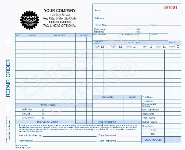 AROCC-600-3 | Automotive Repair Work Order, 3 Part Carbonless Invoice (8.5'' x 7'')