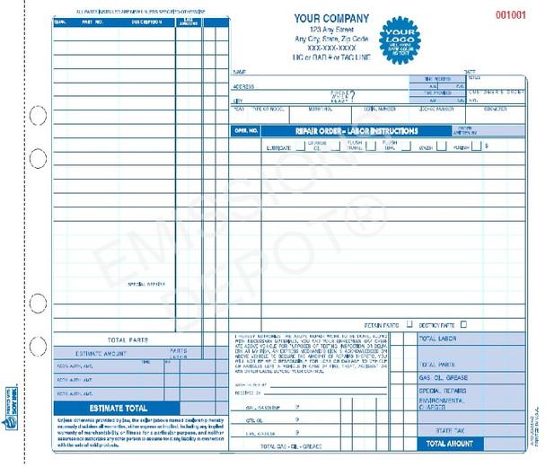 AROCC-664-3 | Automotive Repair Work Order | 3 Part Carbonless (11' x 8.5'')