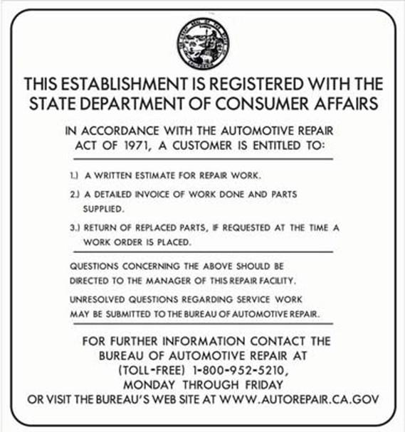 Sign - Bureau of Automotive - Updated (24in x 26in)