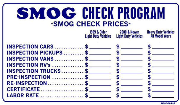Smog 2-3 - Smog Check Prices Updated