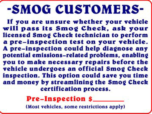 Sign - Pre Inspection Notice and Price (18' x 24in)