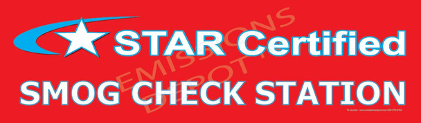 This is a 3' x 10' STAR CERTIFIED BANNER with SMOG CHECK STATION test added below the logo.  This is a high quality double stitched banner with thick vinyl for added strength and durability. This banner does NOT satisify the BAR Sign requirement for the STAR program.