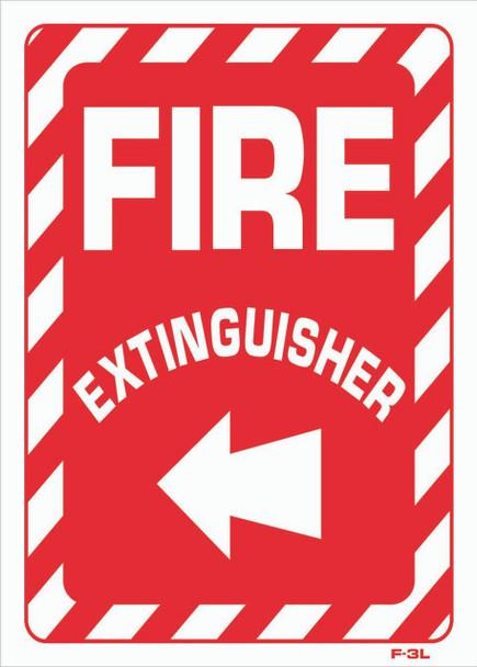 Sign - Fire Extingusher Left Arrow (4in x 20in)