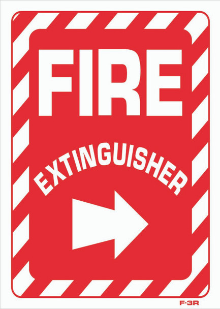 Sign - Fire Extingusher  Right Arrow (10iin x 14in)