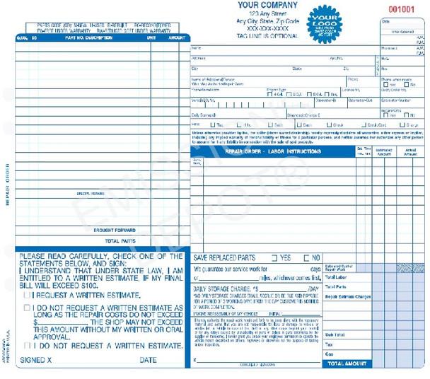 "AROCC-646-4 | Automotive Repair Work Order - 4 Part Carbonless (11"" x 8"")"