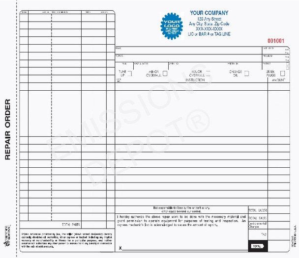 RO-658-3 | Automotive Repair Order - 3 Part Carbon Copy - No Back Printing (11'' x 8.5'')