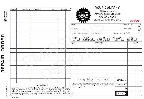 "RO-673-3 | Automotive Repair Order - 3 Part Carbon Copy (8.5"" x 5"")"