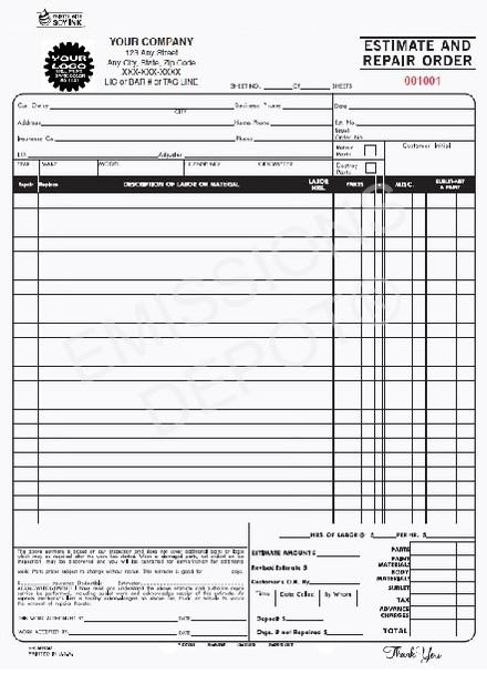 ERO-660-2   Automotive Estimate & Repair Order - 3 Part Carbon Copy (8.5'' x 11'')