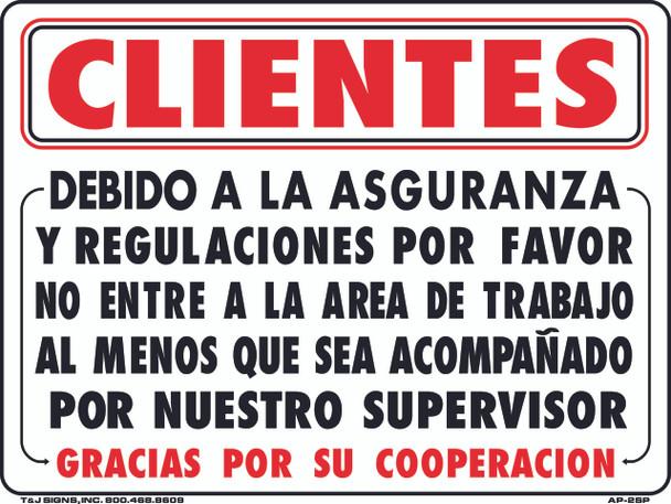 Customers: Due to Insurance Spanish 18 x 24