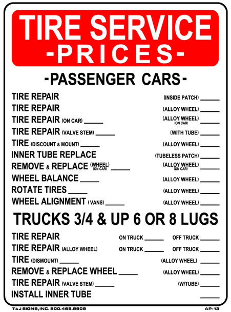 Tire Service Prices Plastic Sign 24 x 18
