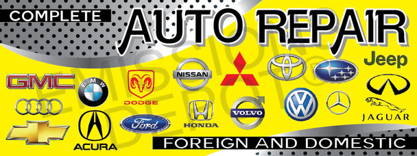 Complete Auto Repair | Yellow and Gray | Vinyl Banner