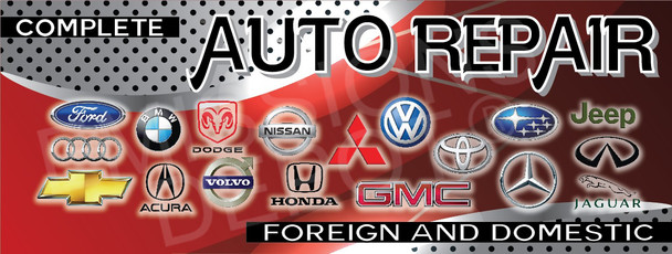 Complete Auto Repair | Red and Gray | Vinyl Banner