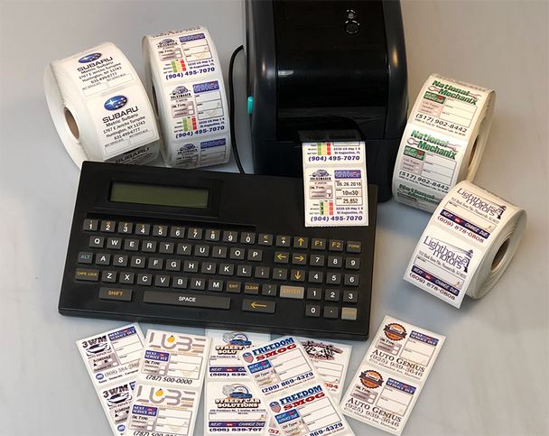 Oil Change Reminder Sticker Printer System, Includes 500 Custom Designed Color Sticker and 1 roll of Premium Was ribbon.