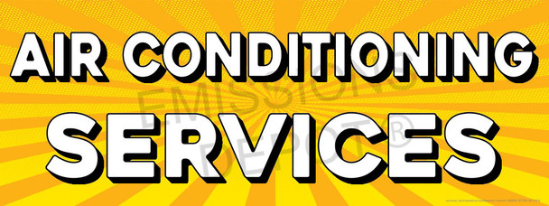 Air Conditioning | Yellow Orange Burst | Vinyl Banner