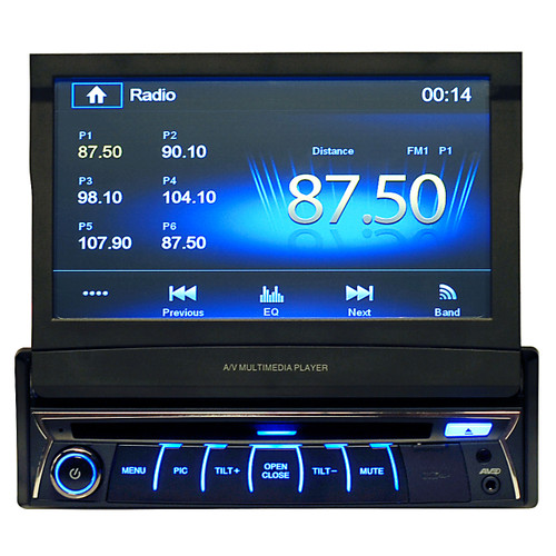 "Magnadyne M9970 | AM/FM/BT/CD/DVD Receiver Single DIN 7"" Pop-Up Display - Front View"