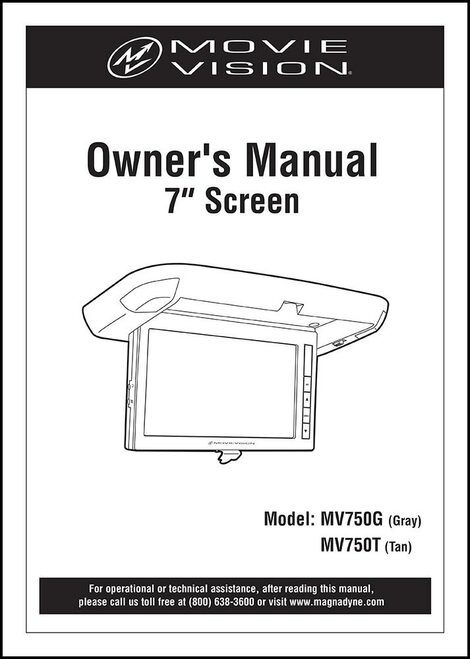 MOVIEVISION MV750T | User's Manual